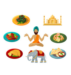 different objects of traditional indian culture vector image