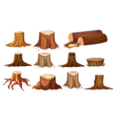 Different shapes of stump trees vector