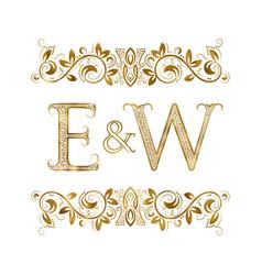 E and w vintage initials logo symbol vector