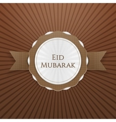 Eid mubarak realistic greeting tag vector