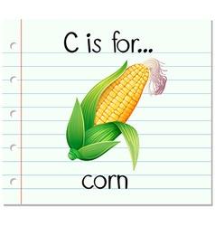 Flashcard alphabet c is for corn vector