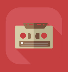 Flat modern design with shadow cassette tape vector