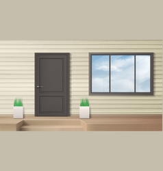 Front door house entrance modern home facade vector