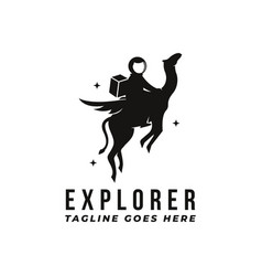fun space explorer logo astronaut logo vector image