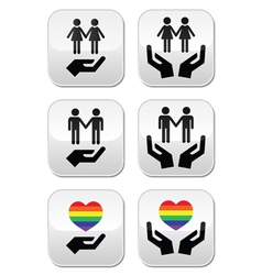 Gay and lesbian couples rainbow flag with hands i vector image