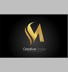 gold metal m letter design brush paint stroke on vector image