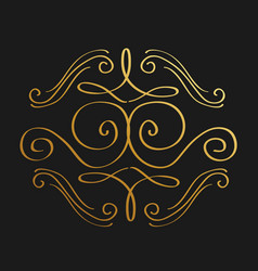 golden calligraphic flourishes decorative ornament vector image