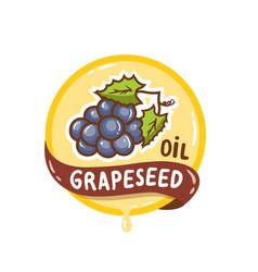 Grapeseed oil logo natural product emblem vector