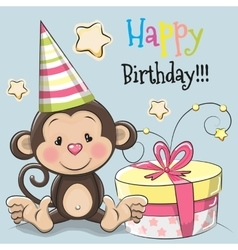 Greeting card cute monkey with gift vector