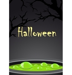 Halloween background with green potion and place vector image