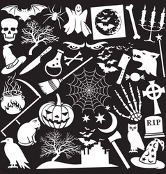 Halloween icons seamless pattern or background vector