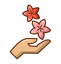 Hand with flowers icon cartoon style vector