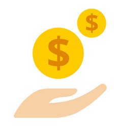 hands with money coins on white background putting vector image