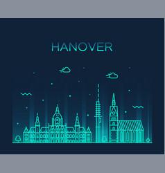 hanover skyline lower saxony germany linear vector image