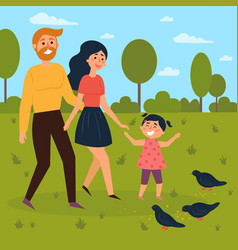 happy family walks outdoors and feeds pigeons vector image