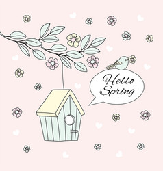 Hello spring bloom nature season cartoon vector