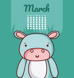Hippo cute calendar design vector