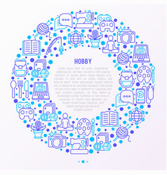 hobby concept in circle with thin line icons vector image