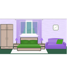 hotel room bedroom interior with bed wardrobe vector image
