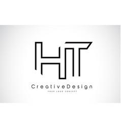 Ht h t letter logo design in black colors vector
