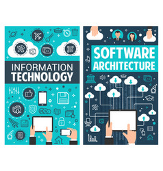 Infographic design of information technology vector