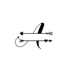 Initial a love monogram split letter isolated vector