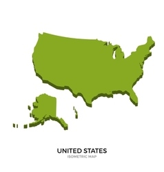 Isometric map of United States detailed vector