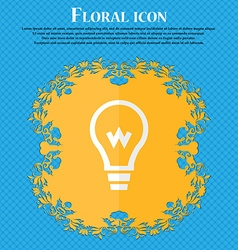 Light bulb Floral flat design on a blue abstract vector image