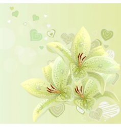 Lilies and hearts background vector