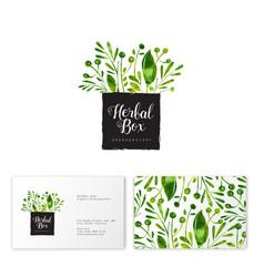 Logo herbal box watercolor green herbals emblem vector