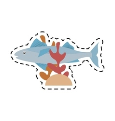 Mackerel fish sea life coral line dotted vector