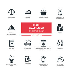 Mall wayfinding - modern simple icons pictograms vector