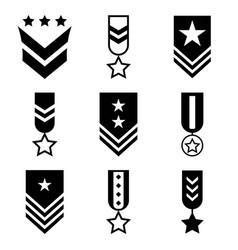 Military rank black icon set vector