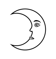 Moon crescent face vector