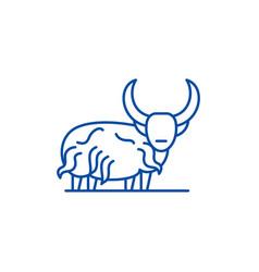 mountain bull line icon concept mountain bull vector image