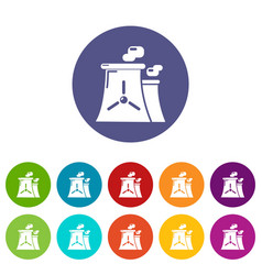 Nuclear power plant tower icons set color vector
