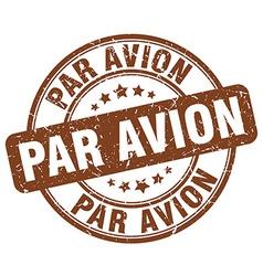 Par avion brown grunge round vintage rubber stamp vector