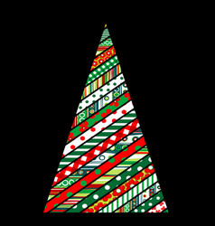 patchwork design of christmas tree on black vector image