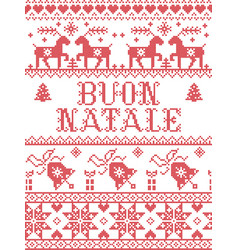 Pattern italian merry christmas buon natale vector