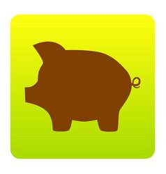 pig money bank sign brown icon at green vector image