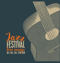 Poster for jazz festival of live music with guitar vector