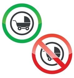 Pram permission signs vector