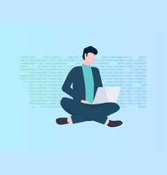 program coding man with laptop programmer vector image