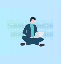 Program coding man with laptop programmer vector