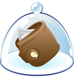 Purse under bell-glass concept vector
