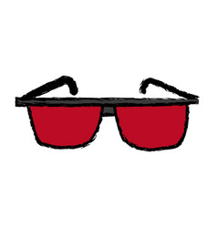 Red glasses accessory fashion element design vector