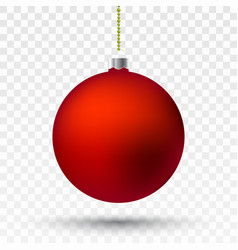red transparent christmas ball vector image
