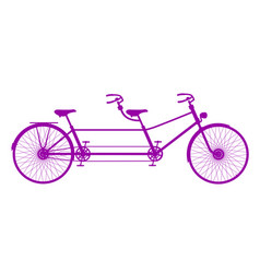 retro tandem bicycle in purple design vector image