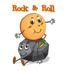 Roll sitting on rock vector