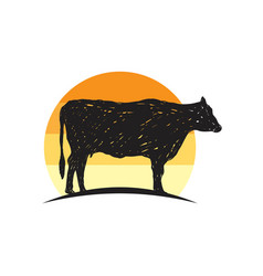 rustic cow silhouette vector image